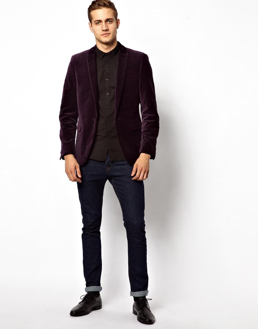 john zack asos slim fit blazer in velvet in purple for men. Black Bedroom Furniture Sets. Home Design Ideas
