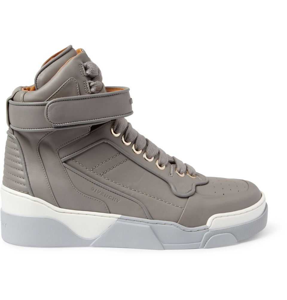 givenchy leather high top sneakers in gray for men lyst. Black Bedroom Furniture Sets. Home Design Ideas