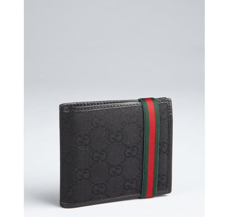 Lyst Gucci Black Ssima Leather Band Foldover Wallet In