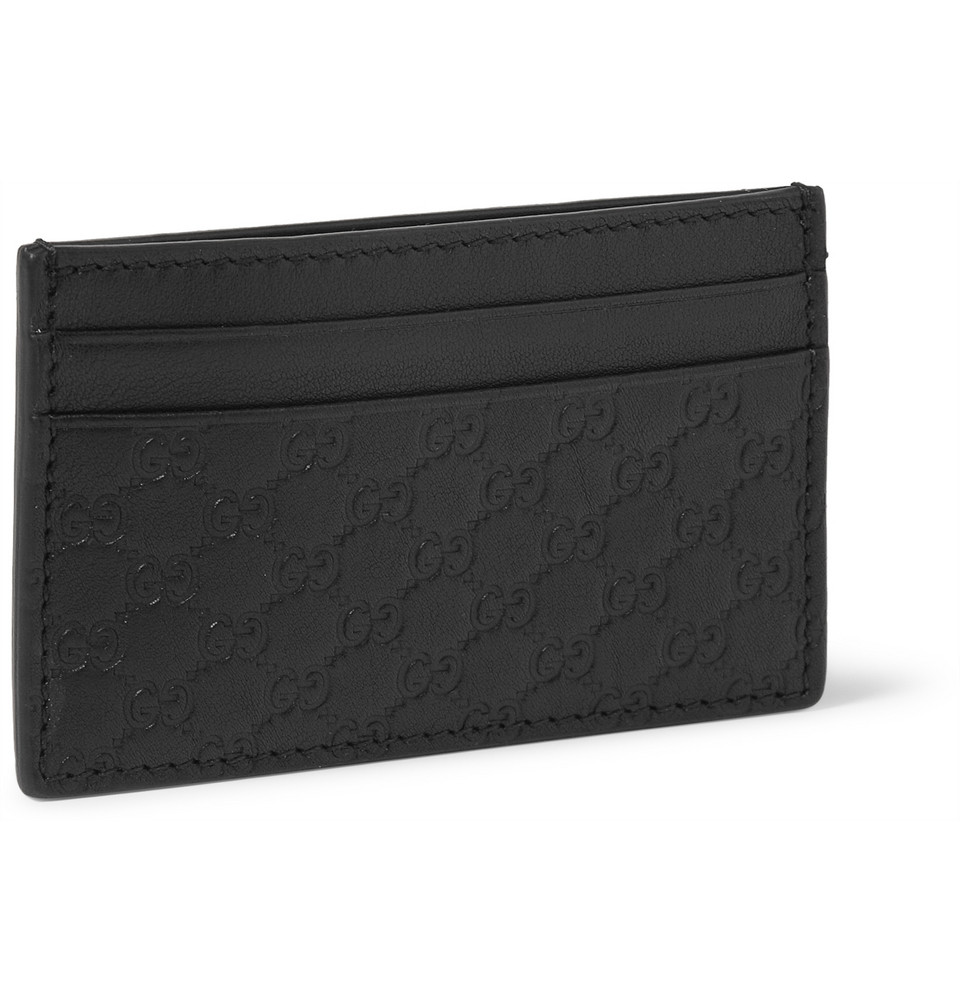 60e49795feb Gucci Embossed Leather Card Holder and Money Clip in Black for Men ...