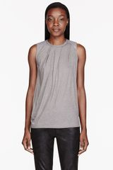 Helmut Lang Light Grey Leather and Soft Wool Draping Top - Lyst