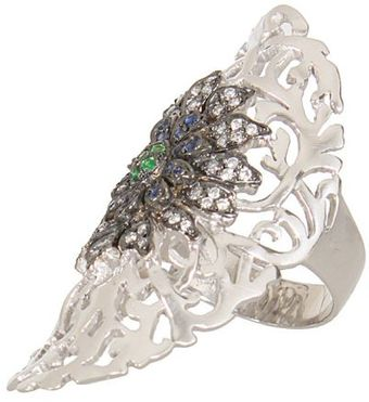 Ileana Makri Diamonds Blue Sapphires and Oxidized Tsavorites Shield Flower Ring - Lyst