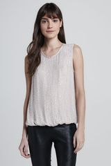 L'Agence Beaded Silk Scoopneck Top - Lyst