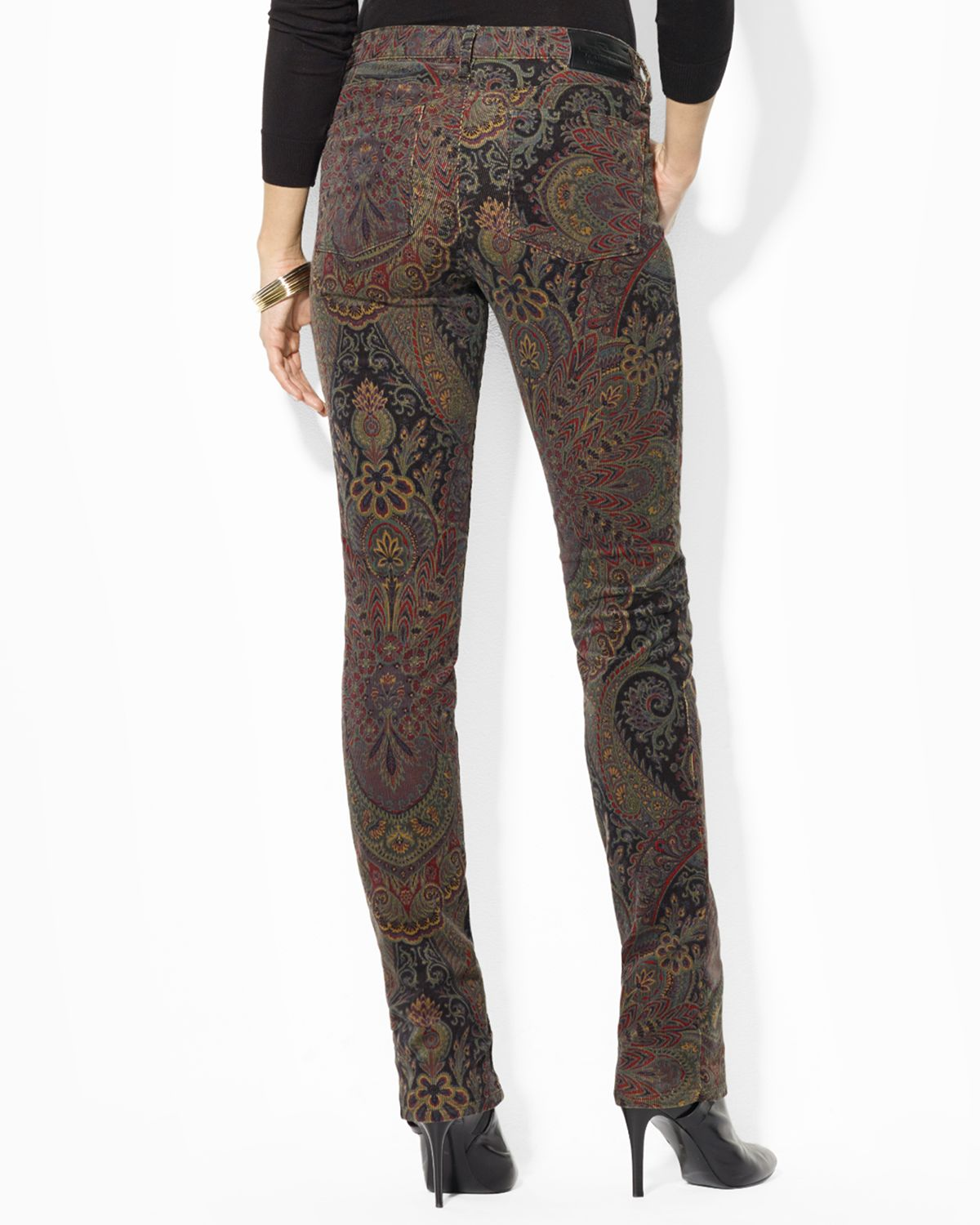 Lauren by ralph lauren Paisley Print Corduroy Pants in Brown | Lyst