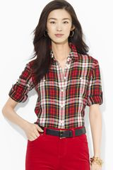 Ralph Lauren Plaid Roll Sleeve Shirt - Lyst