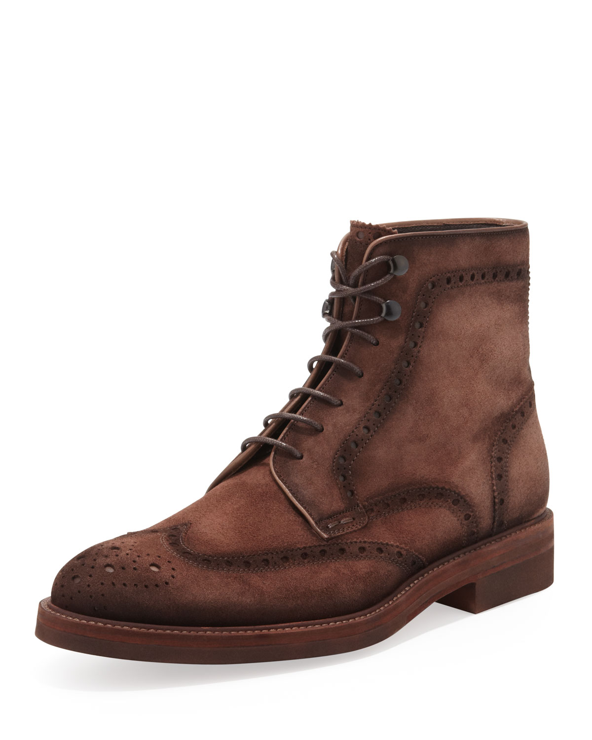 magnanni mens suede laceup wingtip boot in brown for