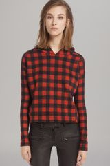 Maje Sweatshirt Plaid Hooded - Lyst