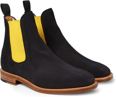 mcnairy suede chelsea boots in blue for lyst