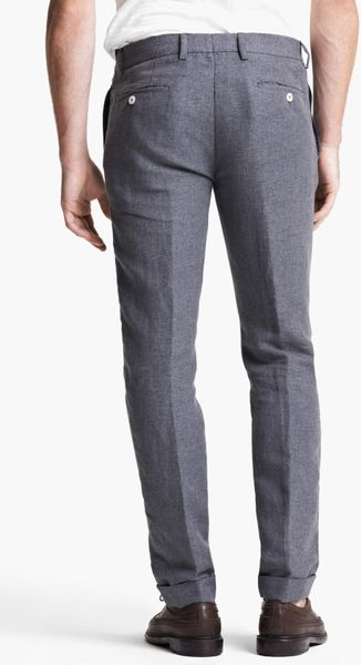 Michael Bastian Skinny Fit Cotton Linen Pants In Gray For