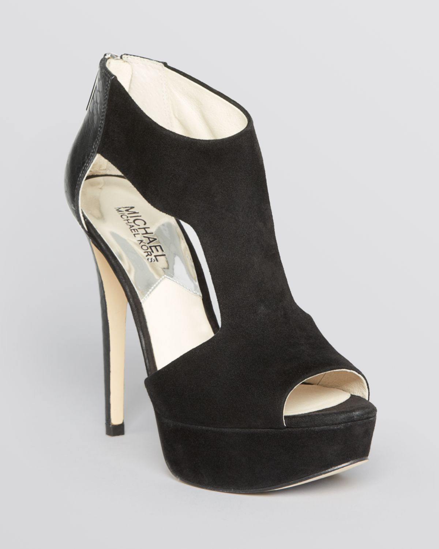 6fe7953ef1f Lyst - MICHAEL Michael Kors Leighton High Heel Peep Toe Platform ...
