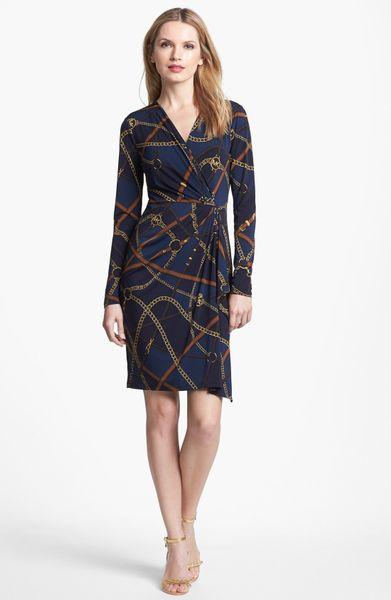 Michael Michael Kors Print Faux Wrap Dress In Blue Dark