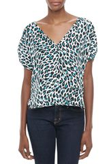 Milly Cheetahprint Silk Top - Lyst