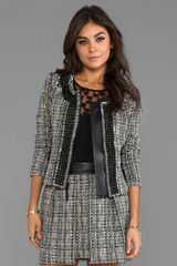 Milly Black and White Tweed Jacket in Black - Lyst