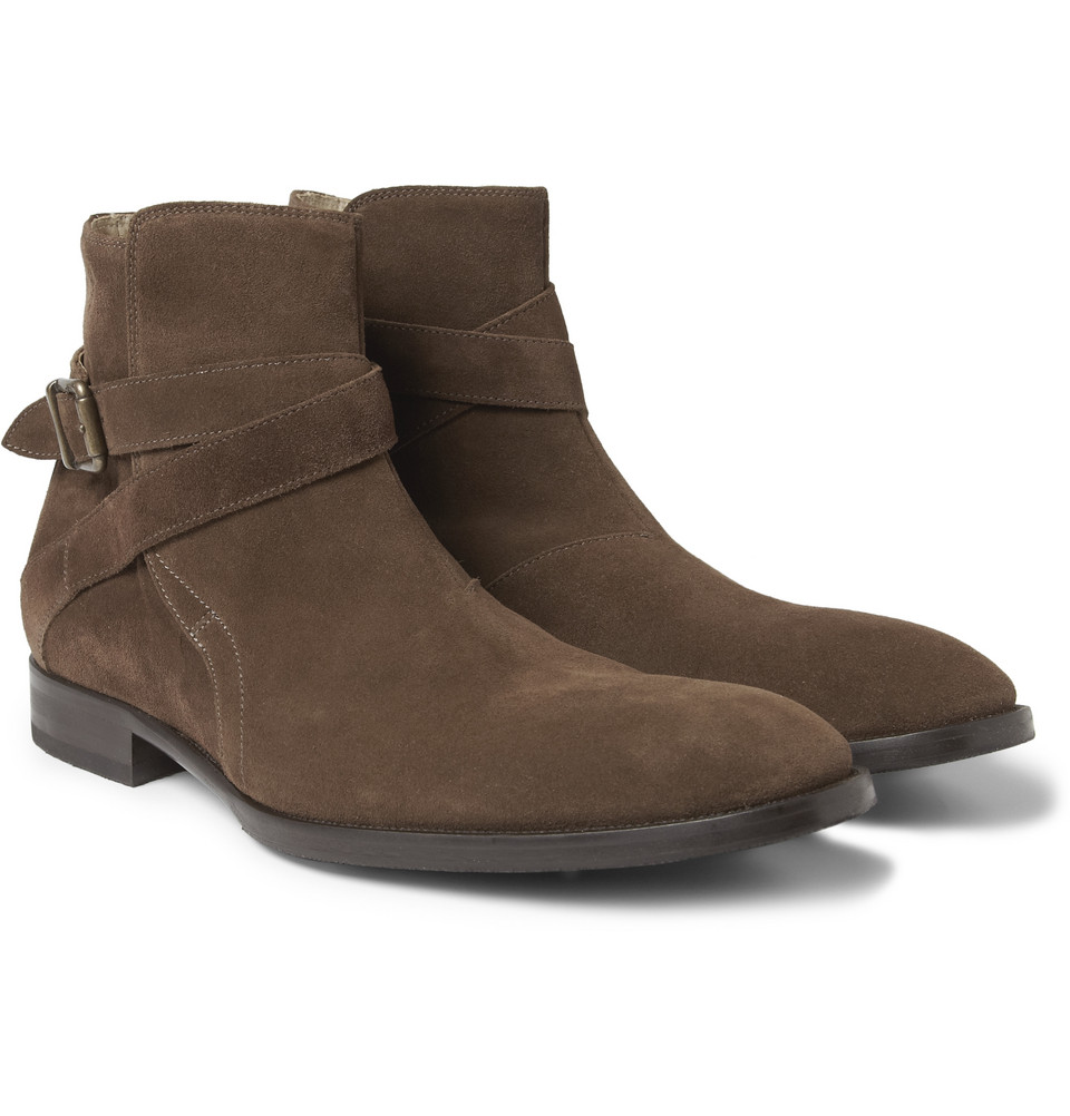 Mr. hare Jodhpur Suede Buckled Ankle Boots in Brown for Men | Lyst