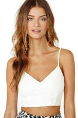 Nasty Gal Babette Faux Leather Crop Top