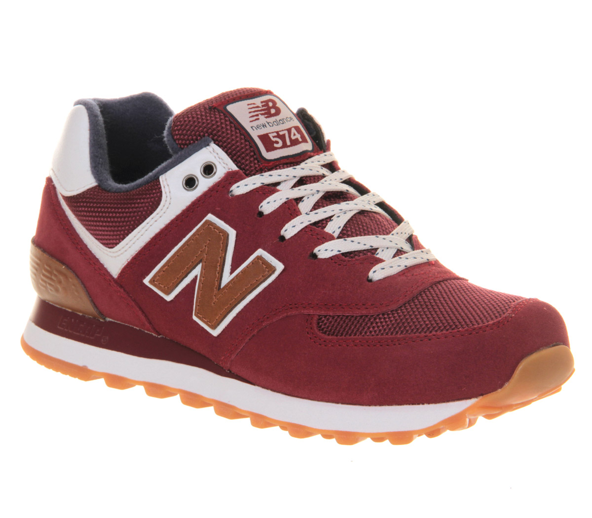 new balance m574 in red for men maroon lyst. Black Bedroom Furniture Sets. Home Design Ideas