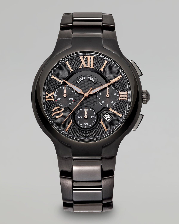 philip stein stainless steel chronograph blackrose