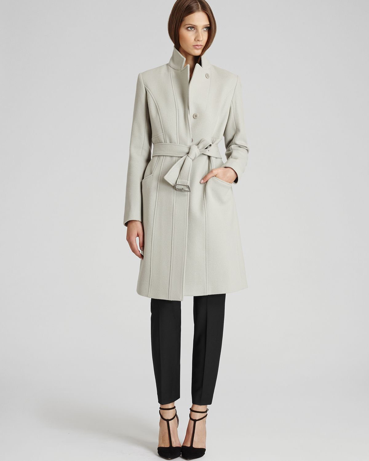 Reiss Tropez Belted Wool Coat in Gray | Lyst