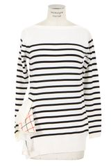 Sacai Navy Blue and White Striped Wool Pullover - Lyst