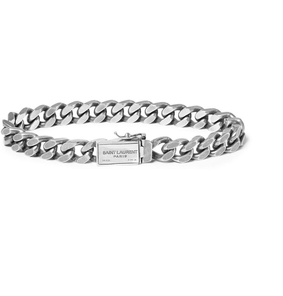 Lyst Saint Laurent Burnishedsilver Chain Bracelet In