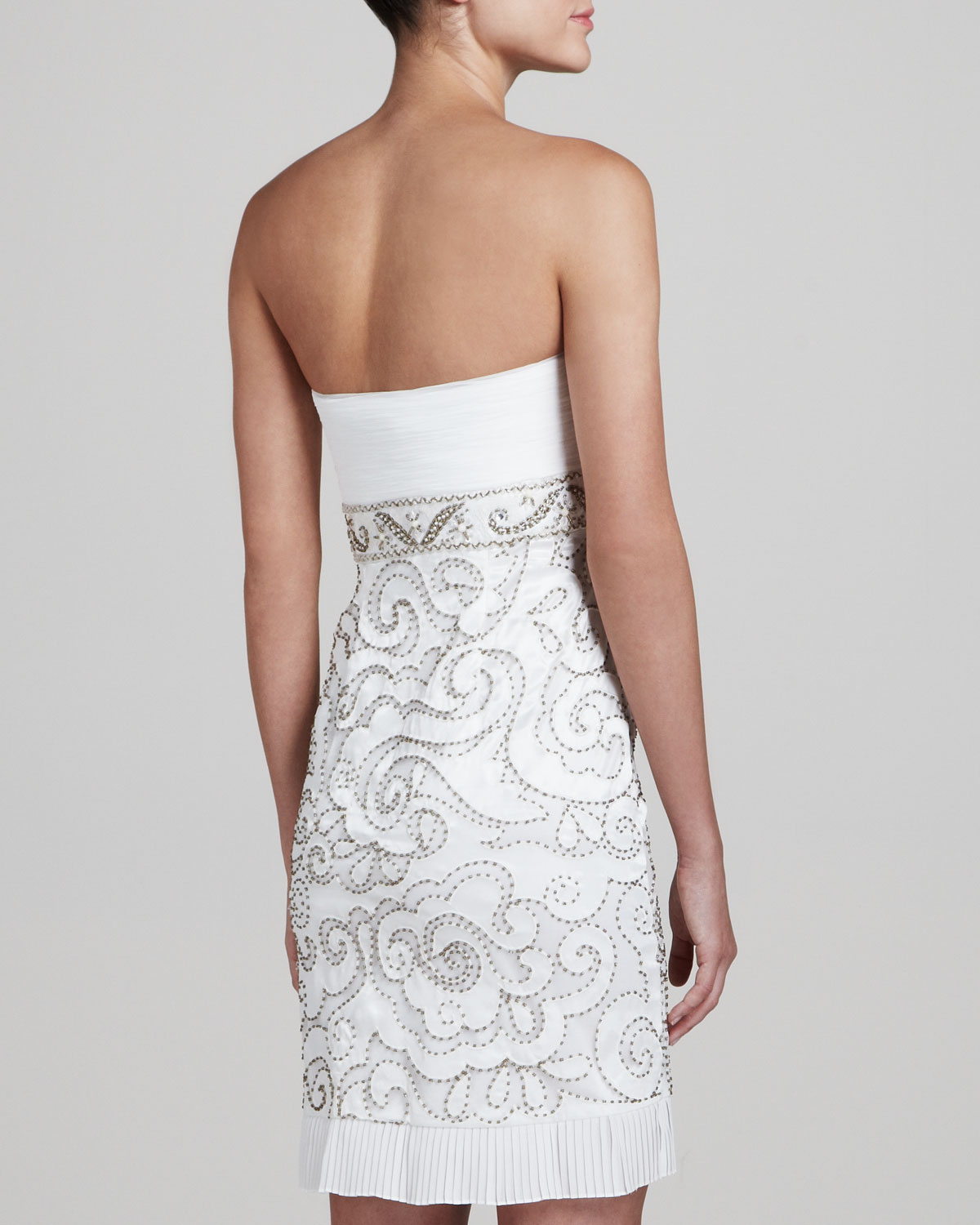 Lyst - Sue Wong Strapless Embellished Cocktail Dress in White