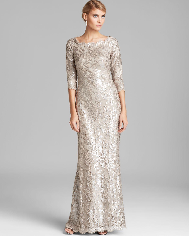 Tadashi Shoji Off-Shoulder Metallic Lace Gown in Metallic - Lyst