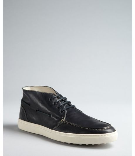 Tod's Navy Leather Laceup Boatstitched Chukkas in Blue for Men (navy) - Lyst