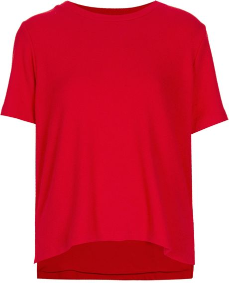 Topshop The Collection Starring Kate Bosworth Crepe Tee in Red