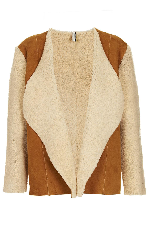 Topshop Waterfall Sheepskin Coat in Brown | Lyst