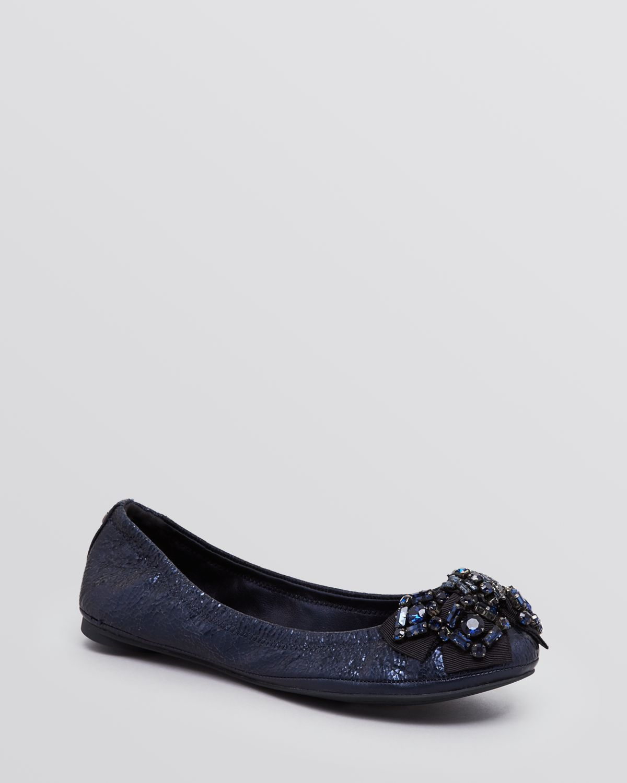 7c263b4dd8a Tory Burch Azalea Bow Ballet Flats in Blue - Lyst