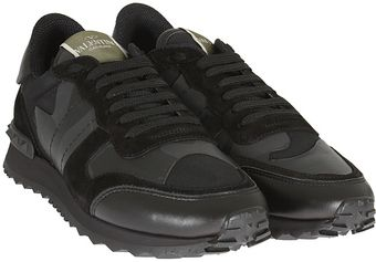 Valentino  Leather and Suede Sneakers - Lyst