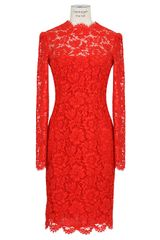 Valentino Red Lace Dress - Lyst