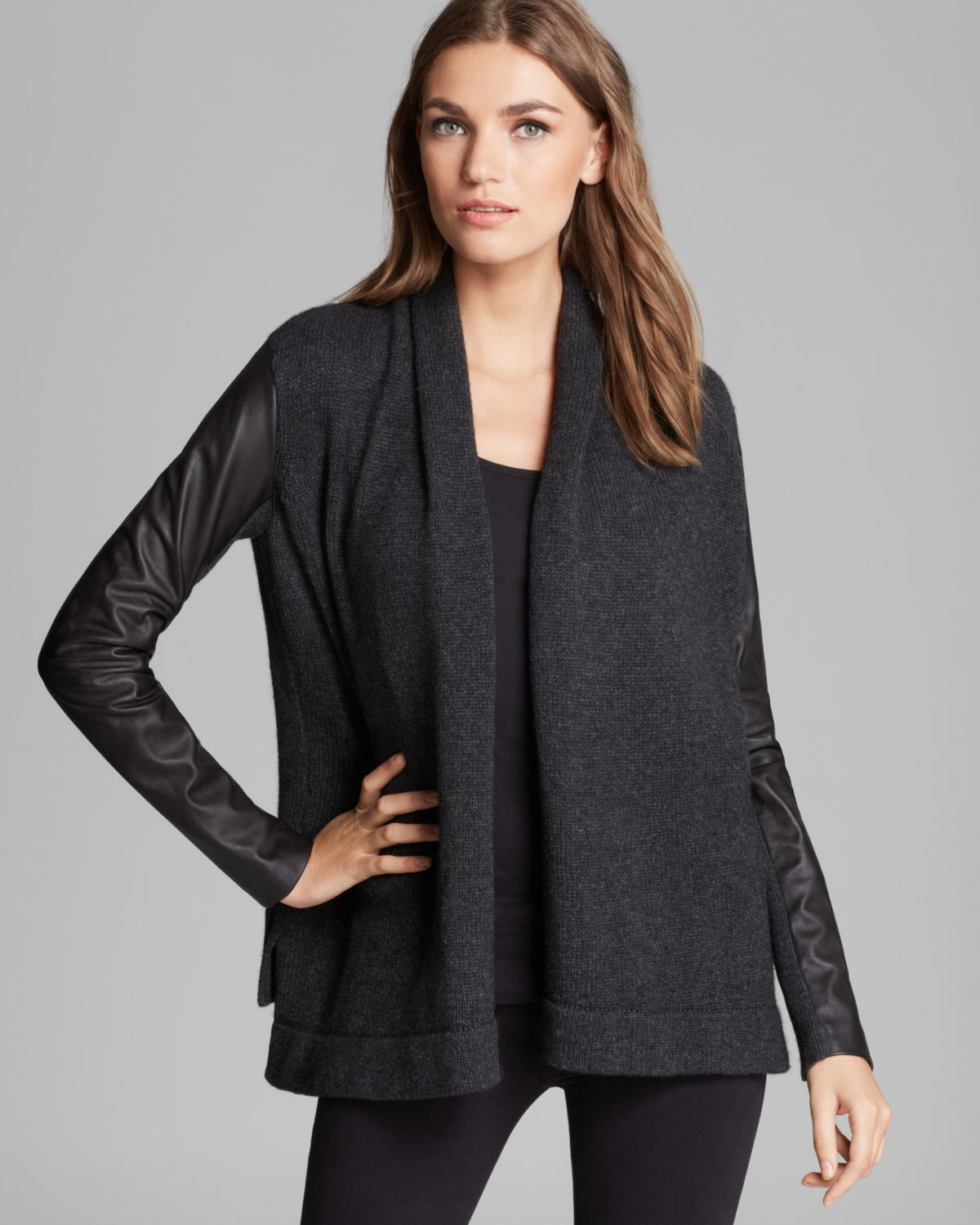 Lyst Vince Cardigan Sweater Leather Sleeve In Gray