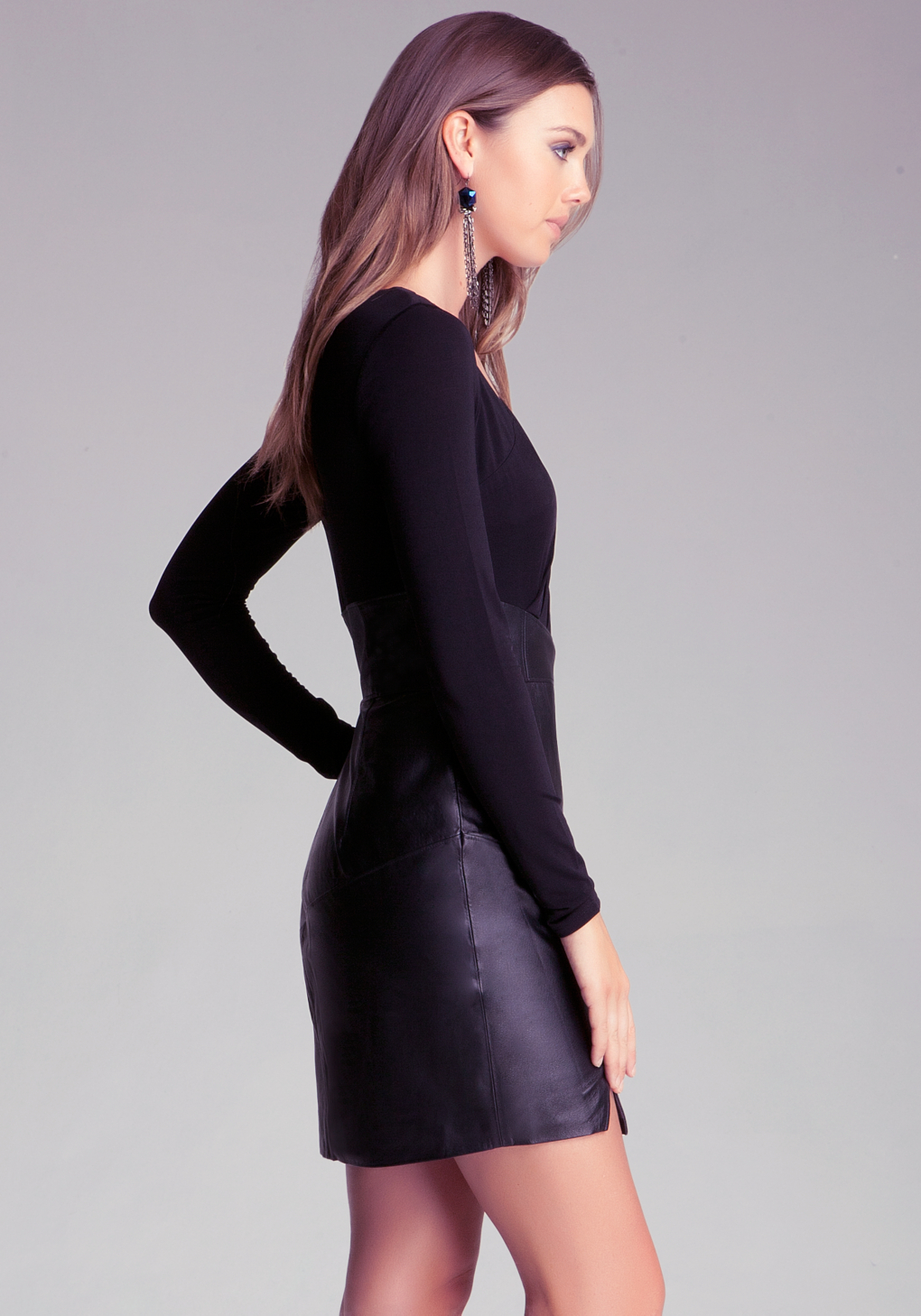 Bebe Leather Skirt Dress With Zipper In Nude Black Lyst