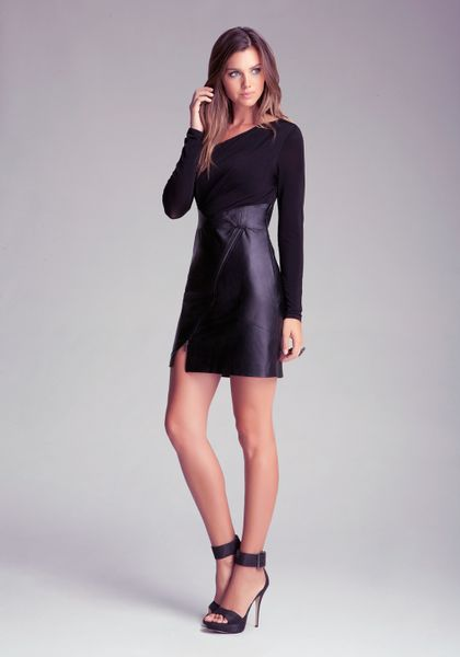 bebe leather skirt dress with zipper in black lyst