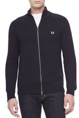 Fred Perry Raglan Sleeve Zip Cardigan Navy - Lyst