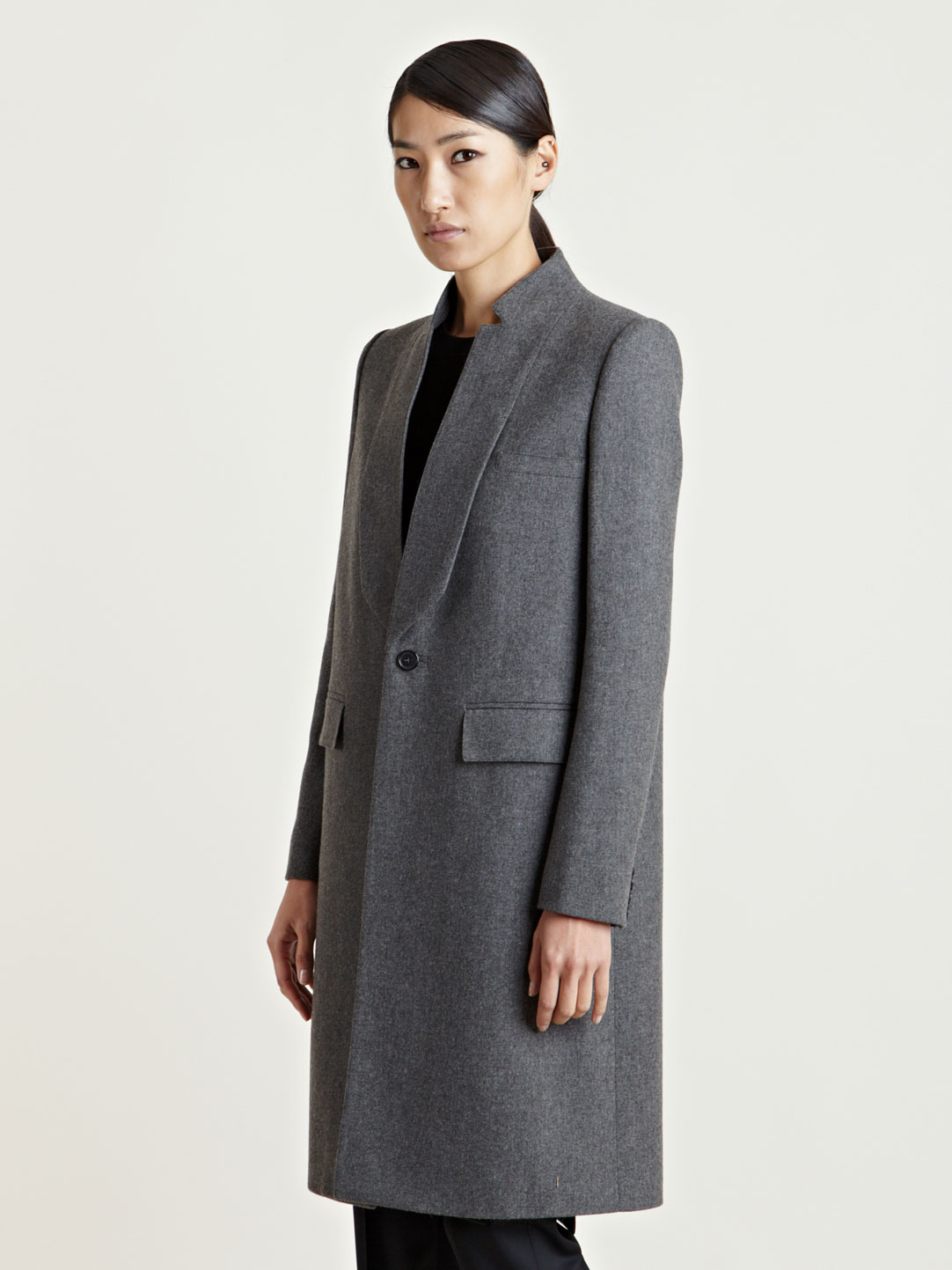 Givenchy Womens Long Wool Cashmere Coat in Gray | Lyst