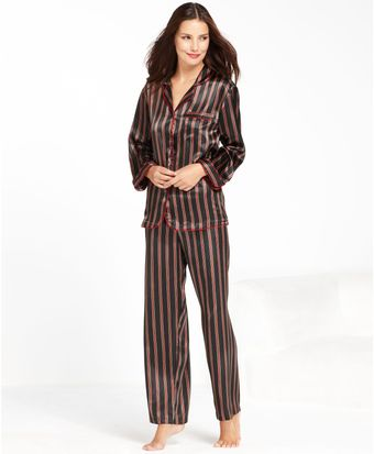 Jones New York Printed Satin Top and Pajama Pants Set - Lyst
