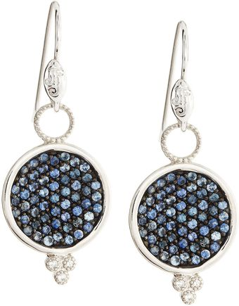 Judefrances Jewelry Blue Sapphire Round Charms Earrings - Lyst