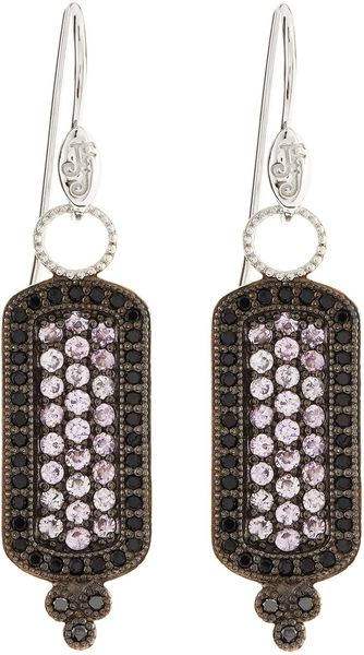 Judefrances Jewelry Pink Sapphire and Spinel Pave Long Drop Earrings - Lyst