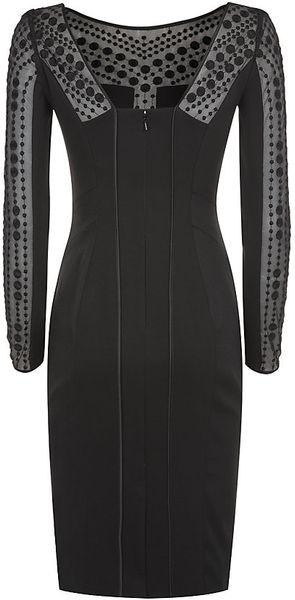Karen Millen Polka Dot Embroidery Dress In Black Lyst