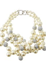 Kenneth Jay Lane Pave Crystal Pearly Beaded Cluster Necklace Blue - Lyst