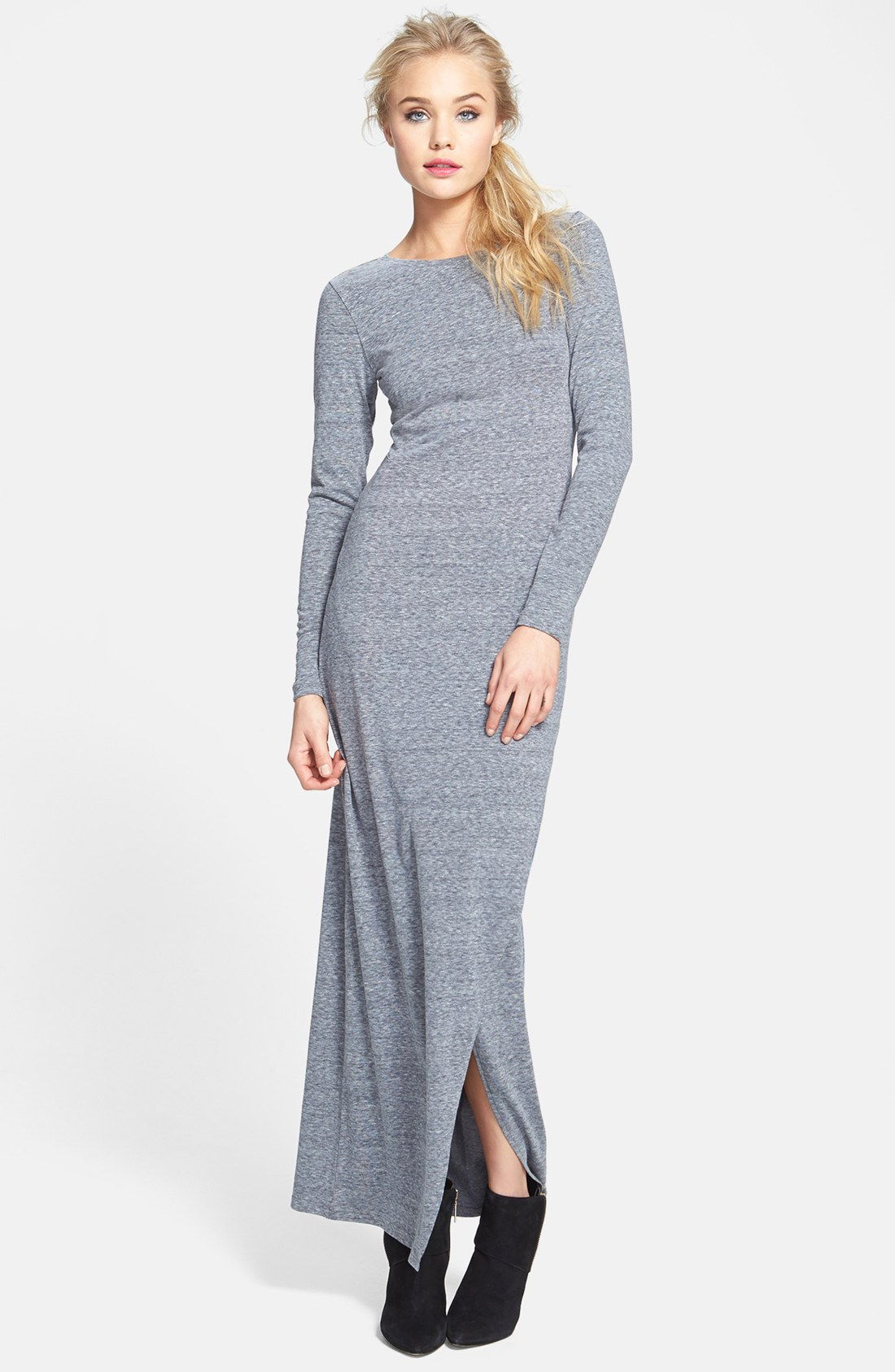 Knitting Pattern Long Dress : Leith Long Sleeve Knit Maxi Dress in Gray (Cloudy) Lyst
