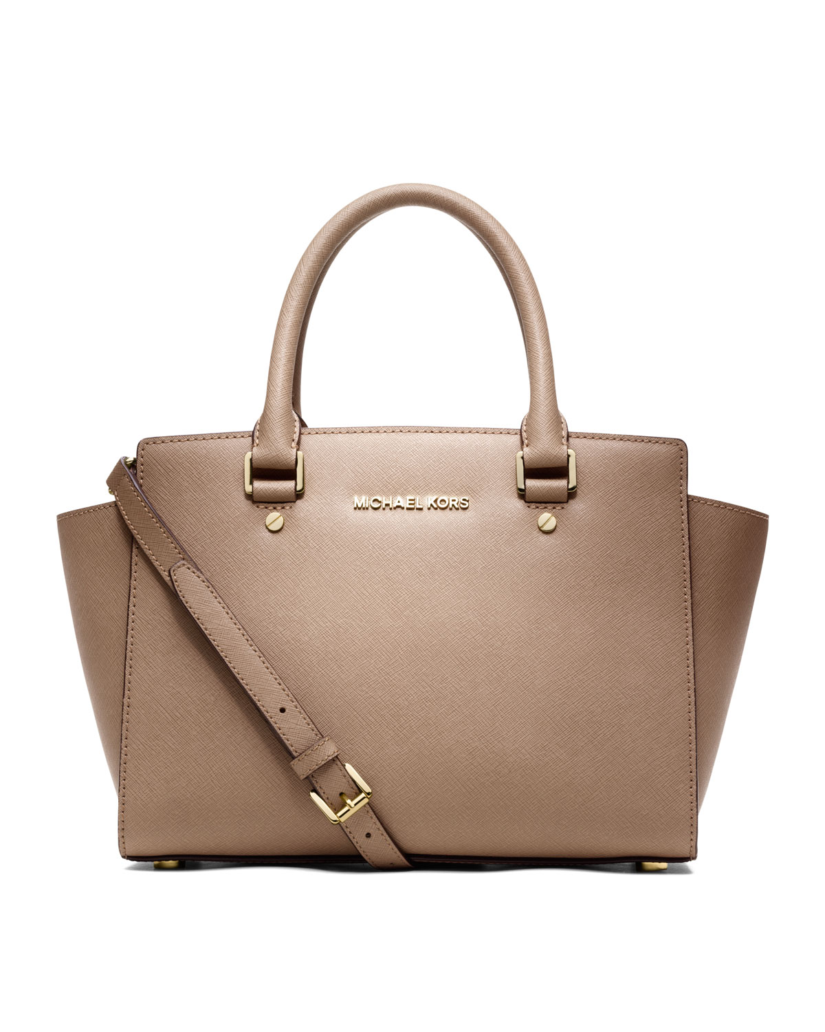 cacc476d0d66c ... low price lyst michael michael kors medium selma topzip satchel in  natural 8a976 52b91