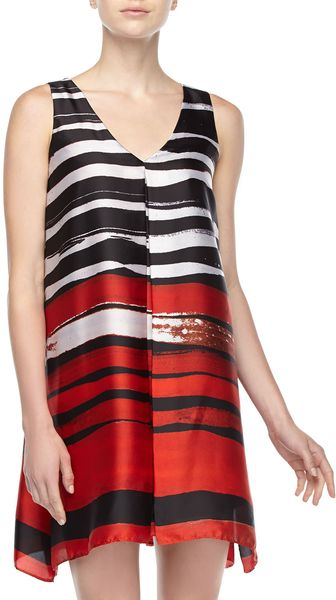 Muse Striped Pleated Shift Dress Redmulti - Lyst
