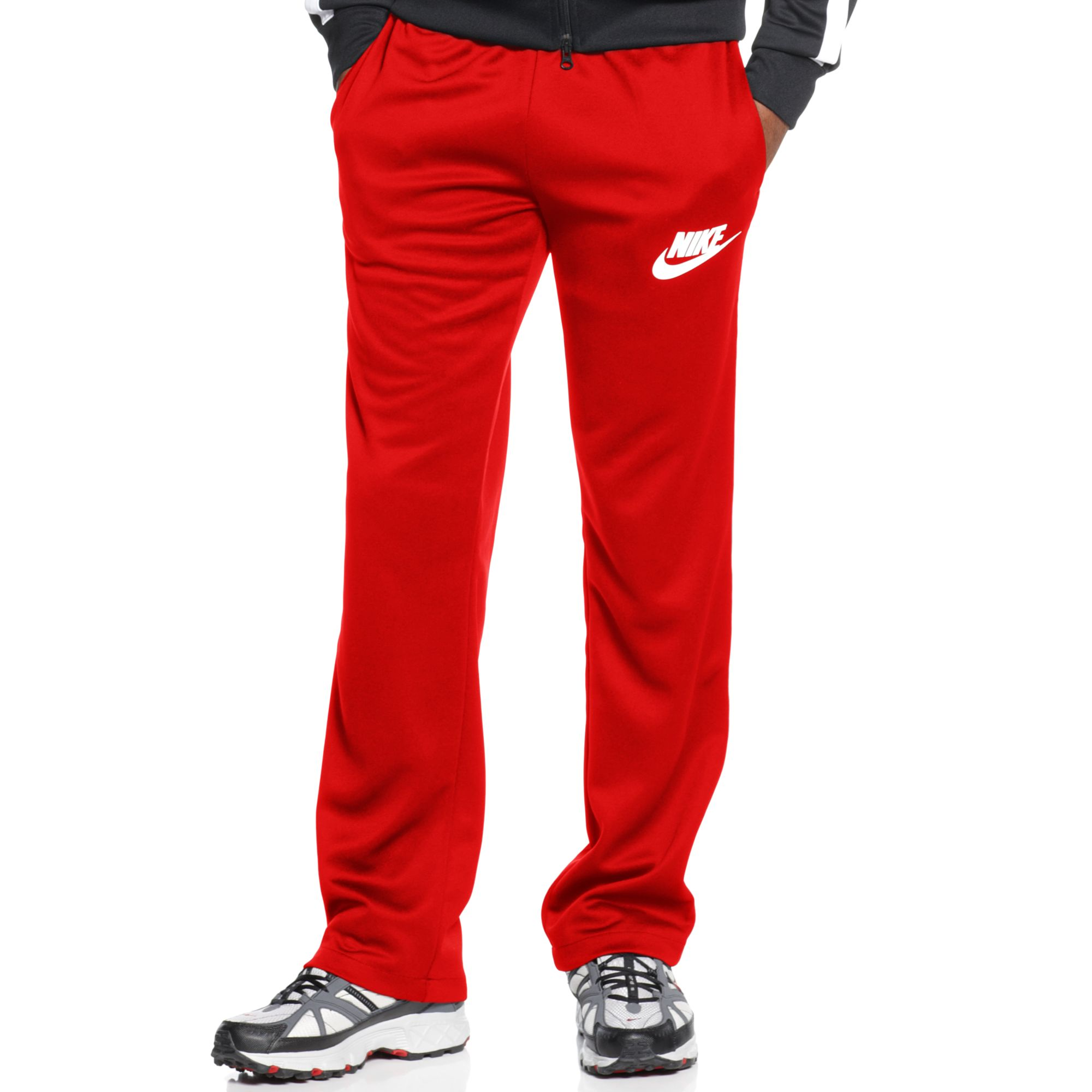 nike logo track pants in red for men challenge red lyst