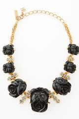Oscar de la Renta Resin Rose Necklace Black - Lyst