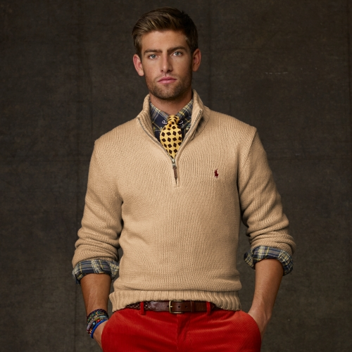 Previously sold at: Ralph Lauren US Buy Polo Ralph Lauren Men\u0026#39;s Natural Half zip Cotton Sweater, starting at $60.
