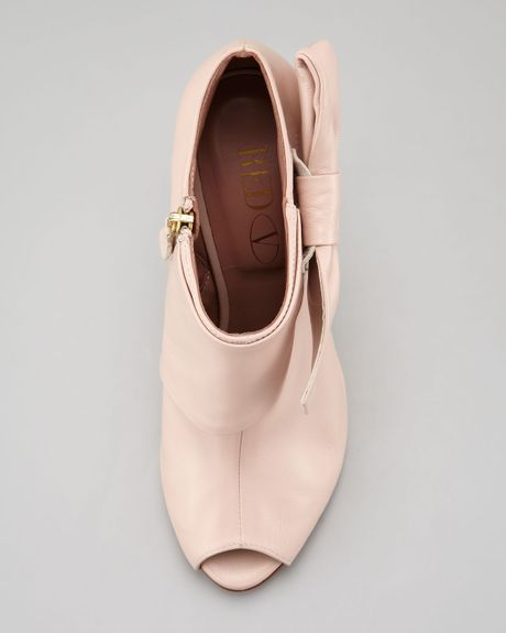 valentino leather bow peeptoe bootie petal pink in