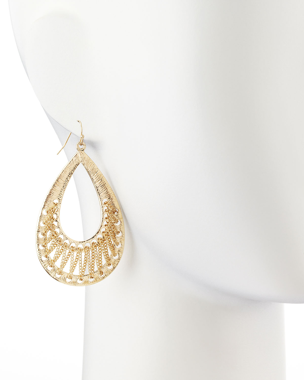 r j graziano golden textured teardrop earrings in